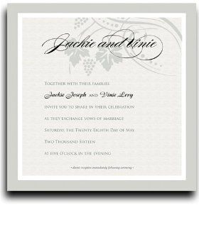 230 Square Wedding Invitations   Vine Splendor in Pewter : Party Invitations : Office Products