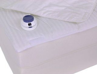 Serta 233 Thread Count Removable Top Low Voltage Electric Heated Full Mattress Pad, White   Electric Warming Pads