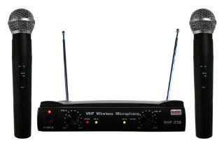 RSQ VHF 238 Professional Dual Channel VHF Wireless Microphone System Musical Instruments