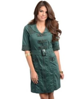 247 Frenzy Zip Front Animal Trim Belted Dress   Dark Green (Small): Clothing
