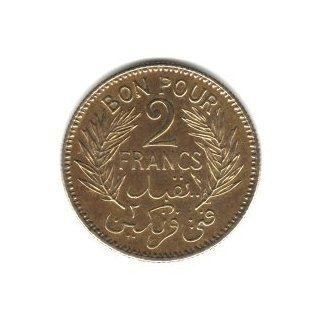 1941 Tunisia 2 Francs Coin KM#248
