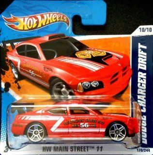 2011 Hot Wheels [Red Watkins Glen Fire Department] DODGE CHARGER DRIFT CAR #170/244, HW Main Street #10/10 (Short Card): Toys & Games