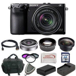 Sony Alpha NEX 7 Kit. Package Includes: NEX7 Digital Camera with with 18 55mm Lens, Sony E Mount SEL16F28 16mm f/2.8 Wide Angle Alpha E Mount Lens (Silver), 2X Telephoto Lens, 0.45X Wide Angle Lens, Filter Kit, Extended Life Battery, Rapid Travel Charger,