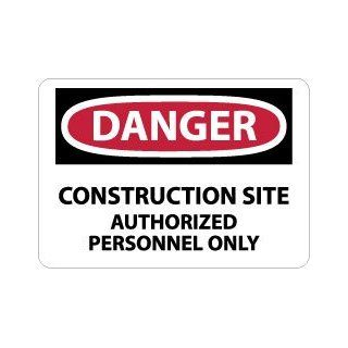 """NMC D247EB OSHA Sign, Legend """"DANGER   CONSTRUCTION SITE AUTHORIZED PERSONNEL ONLY"""", 14"""" Length x 10"""" Height, Fiberglass, Red/Black on White: Industrial & Scientific"""