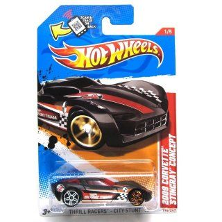 2012 Hot Wheels Thrill Racers   City Stunt 2009 Corvette Stingray Concept Black #196/247: Toys & Games