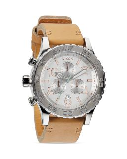 Nixon The 42 20 Chrono Leather Strap Watch, 48mm's
