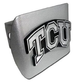 "Texas Christian University ""Brushed Silver with Chrome ""TCU"" Emblem"" NCAA College Sports Trailer Hitch Cover Fits 2 Inch Auto Car Truck Receiver: Automotive"