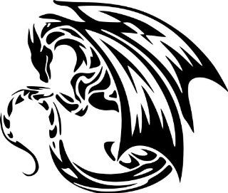 "JP Vinyl Design   Curled Dragon with Wings  Vinyl Decal   6""   Black: Automotive"