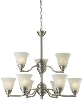 Z Lite 2110 9 Athena Nine Light Chandelier, Steel Frame, Brushed nickel Finish and White Swirl Shade of Glass Material: Home Improvement
