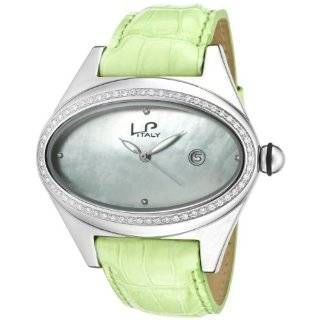 Lucien Piccard Women's 746.20.283 Grand Ducato Diamond Accented Light Green Leather Watch Watches