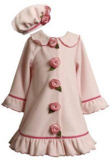 Bonnie Jean Girls 2 6X Ruffle Trim Fleece Coat Set, Fuschia, 2/2T Clothing