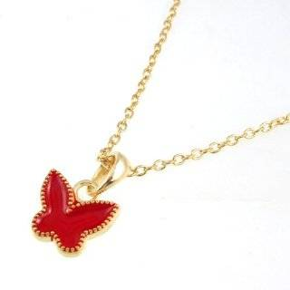 Women Gold Tone Chain Red Butterfly Pendant Necklace Jewelry