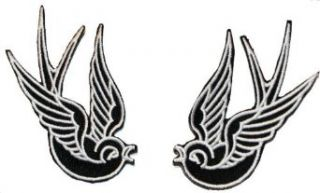 Black Tattoo Sparrow Swallow Emo Punk Embroidered iron on Motorcycle Biker Patch: Clothing