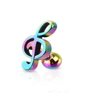 1 16 Gauge 1/4 Inch Rainbow 316L Surgical Steel Treble Clef Music Note Tragus/Cartilage Piercing Stud A103: Jewelry