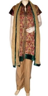 Stitched Salwar Suit Embroidered Party Wear Dresses Salwar Kameez: Clothing