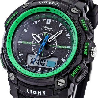 Ohsen Mens Green Waterproof Digital LCD Date Military Sport Rubber Quartz Watch Watches