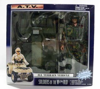 "Soldiers Of The World A.T.V. All Terrain Vehicle ATV With 12"" Soldier Action Figure Dark Camouflage MIB Toys & Games"
