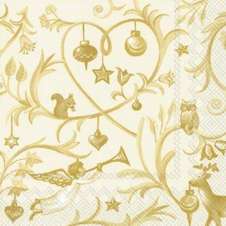 Ideal Home Range Luncheon Decorative Paper Napkins, Christmas Tales on Gold, 20 Count: Kitchen & Dining