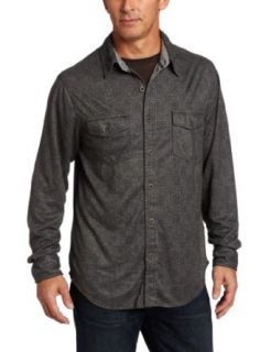 True Grit Men's City Luxe Check Long Sleeve 2 Pocket Shirt, Charcoal, X Large Clothing