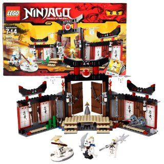 """Lego Year 2011 Ninjago """"Masters of Spinjitzu"""" Animated Series Battle Scene Set #2504   SPINJITZU DOJO with Exploding Floorboards, Moving Obstacles, Snake Pit, Fire Pit and Opening Doors Plus Sensei Wu, Zane and General Nuckal Minifigures with Spe"""