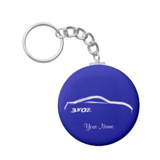 Nissan 350Z White Brush stroke Logo on Blue Key Chain
