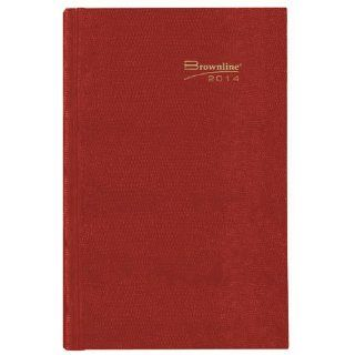 Brownline 2014 Daily Journal, Untimed, Hard Cover, Bright Red, 8.25 x 5.75 Inches (CB389.RED 14): Office Products