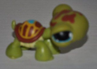 Turtle #393 (Green, Blue Eyes, Brown Shell, Blue Heart on Shell, Brown Marks on Head) Littlest Pet Shop (Retired) Collector Toy   LPS Collectible Replacement Single Figure   Loose (OOP Out of Package & Print): Everything Else