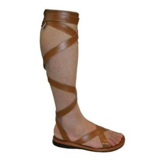 MENS Warrior Theatre Costumes Boot Knee High Sandal Lace Up Black Brown: Shoes