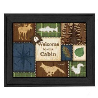 The Craft Room JP3027 405 Welcome to Our Cabin Framed Print by Artist Jennifer Pugh, 16x12 Inches: Home Improvement
