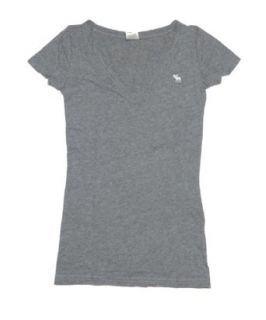 Abercrombie & Fitch Women V Neck Moose Logo T Shirt (S, Grey)