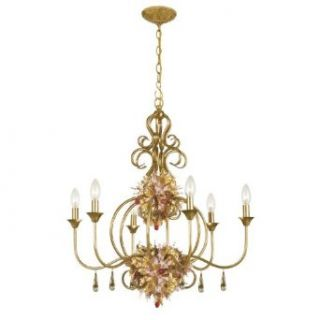 "Fiore Collection 6 Light 28"" Antique Gold Leaf Chandelier with Blown Glass Florals 406 GA"