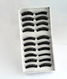 USAMZ909™ 10 Pair Long Black False Eyelashes Eye Lashes Makeup, Professional, Romantic Black Thick Fake Eyelashes Style No.100 : Eye Brushes : Beauty