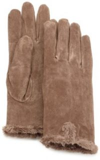 Isotoner Women's Suede Glove With Back Vent, Greige, Medium: Clothing
