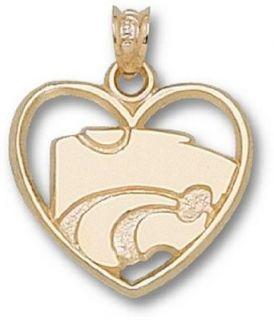 "Kansas State Wildcats ""Power Cat"" Heart Pendant   14KT Gold Jewelry Clothing"
