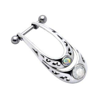 Surgical Steel and 925 Sterling Silver Rainbow Cabochon Cartilage Piercing Earring: FreshTrends: Jewelry