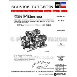 1966 Plymouth Belvedere 426 Hemi HP2 Engine Service Manual Reprint Plymouth Books