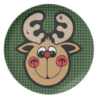 rudolph red nose reindeer dinner plate