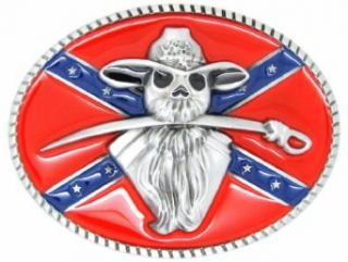 Confederate Flag With Soldier With Sword In Mouth Oval Belt Buckle Multicoloured One Size: Clothing