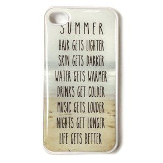 "Trendy Summer Beach Life iPhone 4s Case   Quote: "" Hair gets lighter, Skin gets darker, Water gets warmer, Drinks get colder, Music gets louder, Nights get longer, Life gets better"": Cell Phones & Accessories"