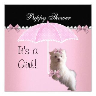 Puppy Shower Cute Dog Pink Announcements