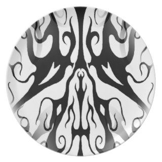 Elegance Tribal Tattoo Digital Collage Dinner Plate