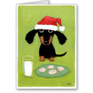Funny Dachshund Santa with Milk and Cookies Greeting Card