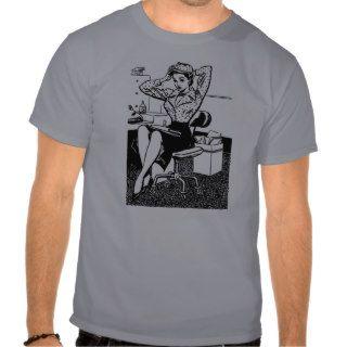 Kitsch Vintage Cartoon Pin Up Office Girl T shirt