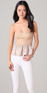 Rebecca Taylor See Ya Leather Peplum Bustier Top