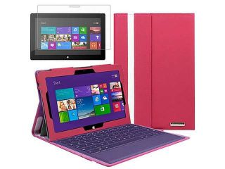 Evecase Ultra Slim Leather Keyboard Portfolio Stand Case w/ Screen Protector for Microsoft Surface Pro 2 (2013)   10.6'' Surface With Windows 8.1 Pro Tablet ( Hot Pink Case )