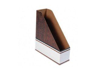 Bankers Box                              Corrugated Cardboard Magazine File, 4 x 11 x 12 3/4, Wood Grain, 12/Carton