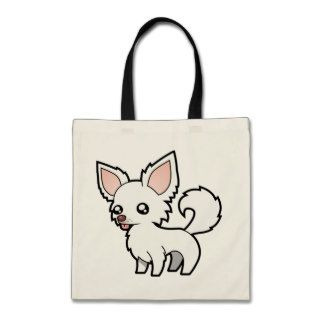 Cartoon Chihuahua (white long coat) Canvas Bags