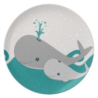 Cute Grey Baby Whale on the Waves Cartoon Party Plates