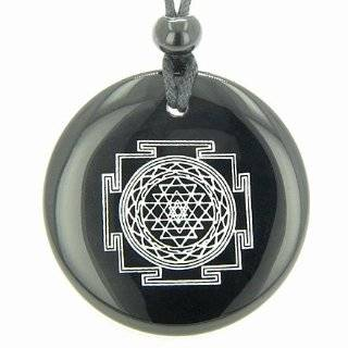 Black Onyx Magic Gemstone Circle Spiritual Powers Pendant Necklace