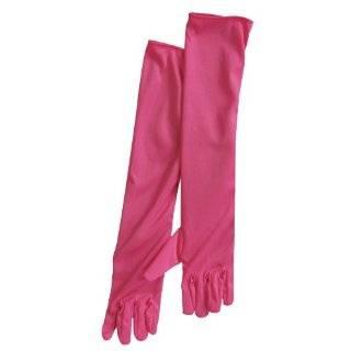 Adult 15 Long Elbow Length Lycra Satin Gloves Fuchsia Clothing
